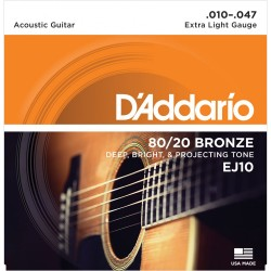 D'Addario EJ10 80/20 Bronze Extra Light Acoustic Strings