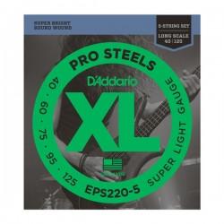 D'ADDARIO EPS220-5 5-String ProSteels Bass Guitar Strings