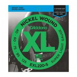 D'Addario EXL220-5 Nickel Wound 5-String Bass, Super Light, 40-125, Long Scale